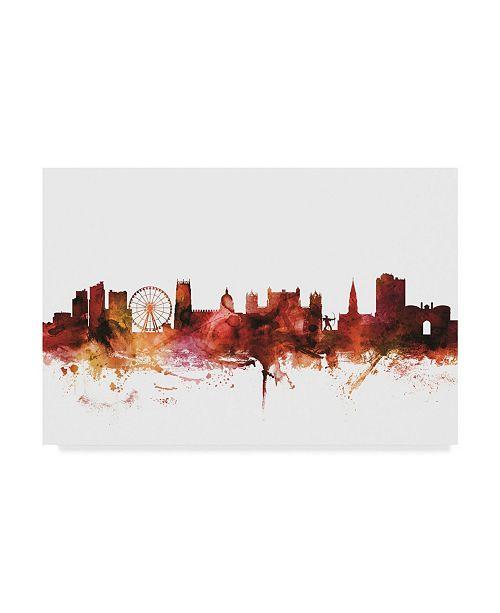 "Trademark Global Michael Tompsett Nottingham England Skyline Red Canvas Art - 37"" x 49"""