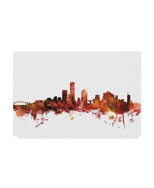 "Trademark Global Michael Tompsett Milwaukee Wisconsin Skyline Red Canvas Art - 20"" x 25"""