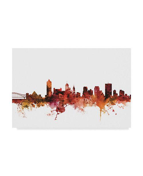 "Trademark Global Michael Tompsett Memphis Tennessee Skyline Red II Canvas Art - 37"" x 49"""