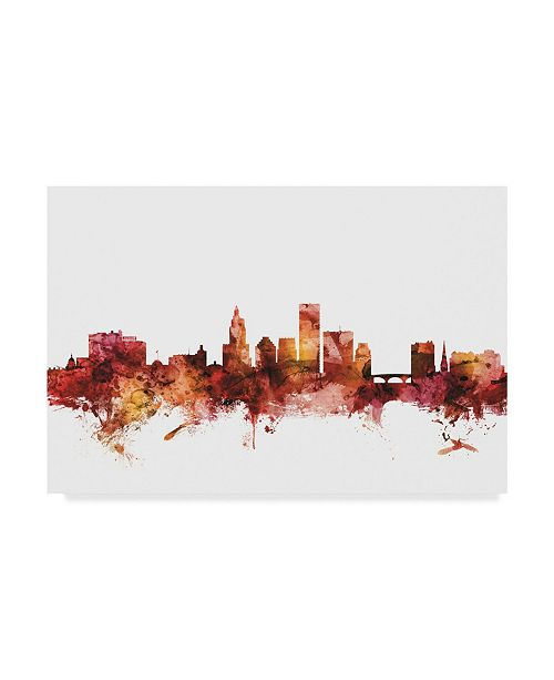 "Trademark Global Michael Tompsett Providence Rhode Island Skyline Red Canvas Art - 20"" x 25"""