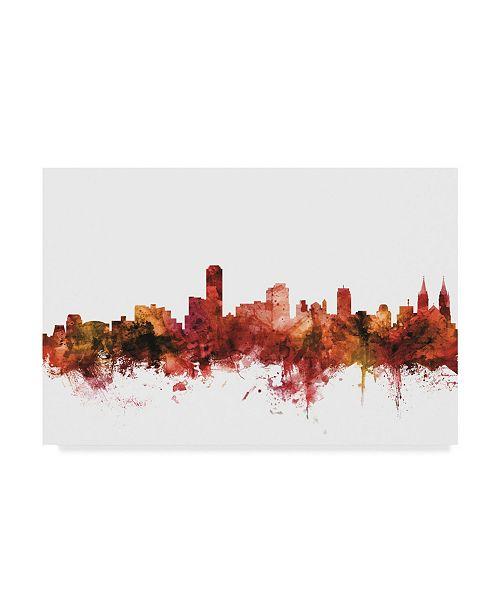 """Trademark Global Michael Tompsett Adelaide Australia Skyline Red Canvas Art - 20"""" x 25"""""""
