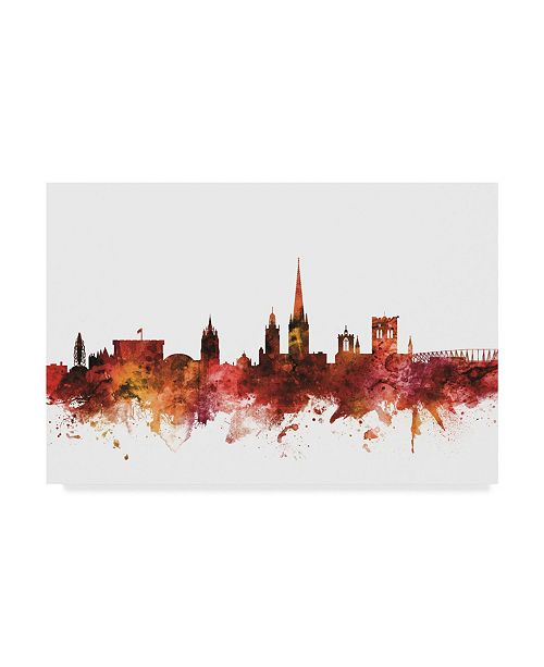 "Trademark Global Michael Tompsett Norwich England Skyline Red Canvas Art - 20"" x 25"""