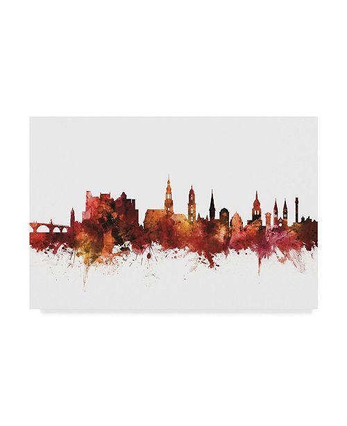 "Trademark Global Michael Tompsett Heidelberg Germany Skyline Red Canvas Art - 37"" x 49"""