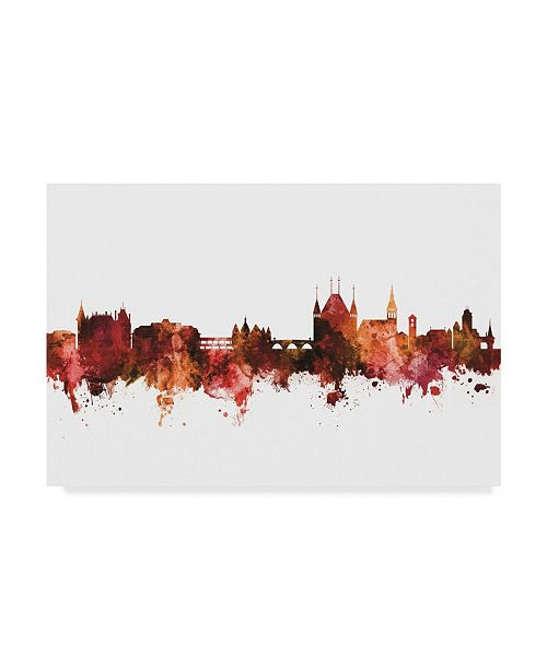 "Trademark Global Michael Tompsett Thun Switzerland Skyline Red Canvas Art - 20"" x 25"""