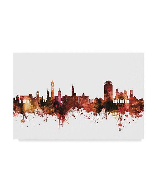 "Trademark Global Michael Tompsett Lugano Switzerland Skyline Red Canvas Art - 37"" x 49"""