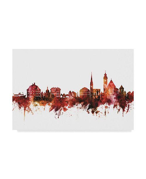 "Trademark Global Michael Tompsett Hallstatt Austria Skyline Red Canvas Art - 37"" x 49"""