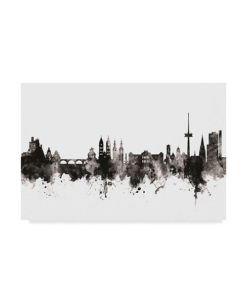 "Trademark Global Michael Tompsett Koblenz Germany Skyline Black White Canvas Art - 37"" x 49"""