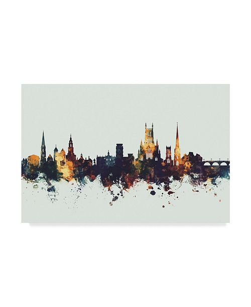 "Trademark Global Michael Tompsett Worcester England Skyline IV Canvas Art - 20"" x 25"""