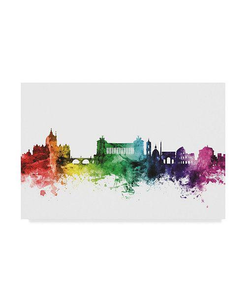 "Trademark Global Michael Tompsett Rome Italy Skyline Rainbow Canvas Art - 20"" x 25"""