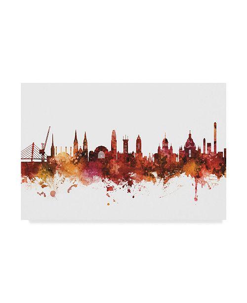 "Trademark Global Michael Tompsett Helsinki Finland Skyline Red Canvas Art - 20"" x 25"""