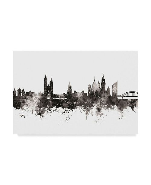 "Trademark Global Michael Tompsett Krakow Poland Skyline Black White Canvas Art - 37"" x 49"""