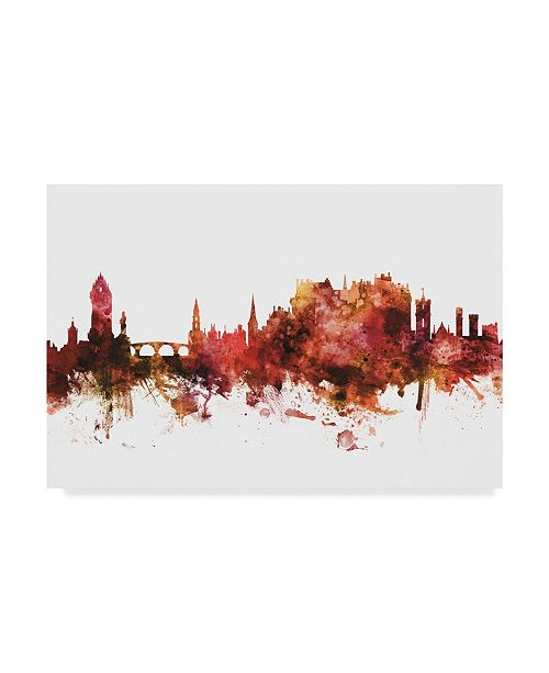 "Trademark Global Michael Tompsett Stirling Scotland Skyline Red Canvas Art - 37"" x 49"""