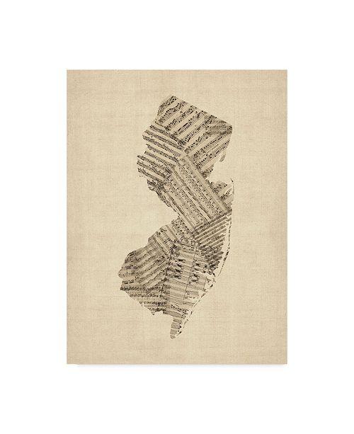 """Trademark Global Michael Tompsett Old Sheet Music Map of New Jersey Canvas Art - 20"""" x 25"""""""