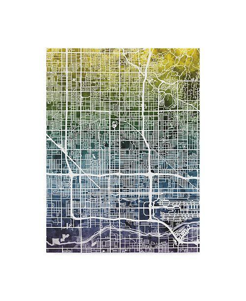 "Trademark Global Michael Tompsett Phoenix Arizona City Map Blue Yellow Canvas Art - 20"" x 25"""