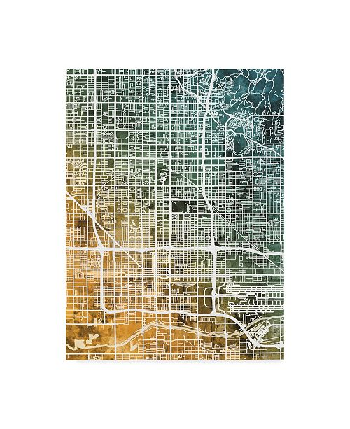 "Trademark Global Michael Tompsett Phoenix Arizona City Map Teal Orange Canvas Art - 37"" x 49"""