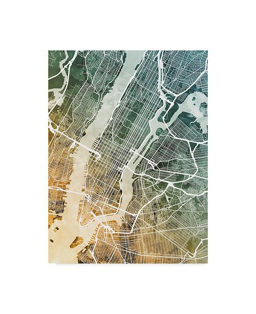 "Trademark Global Michael Tompsett New York City Street Map Teal Orange Canvas Art - 37"" x 49"""