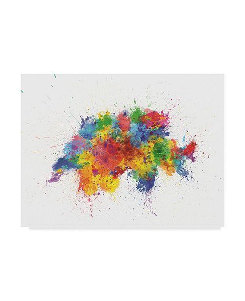 "Trademark Global Michael Tompsett Switzerland Paint Splashes Map Canvas Art - 37"" x 49"""
