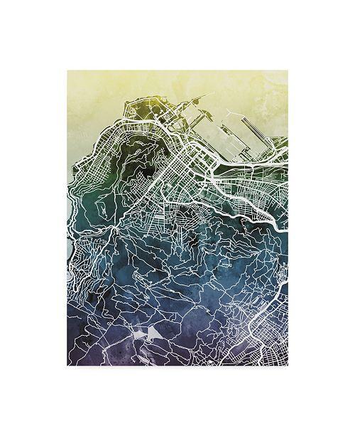 """Trademark Global Michael Tompsett Cape Town South Africa City Street Map Blue Yellow Canvas Art - 20"""" x 25"""""""