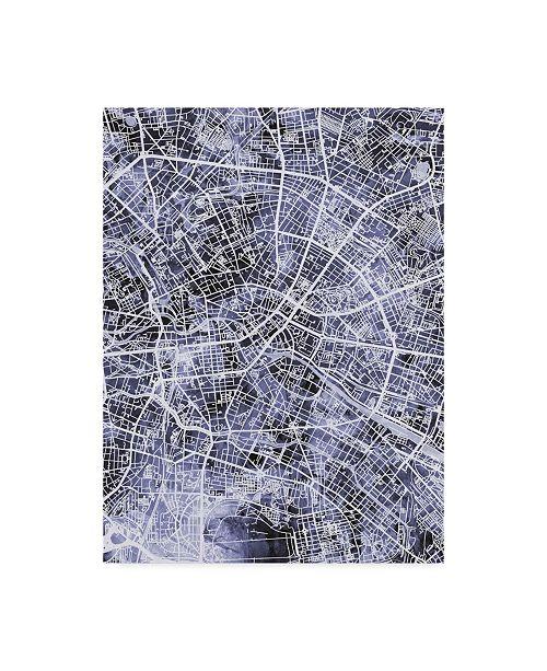 "Trademark Global Michael Tompsett Berlin Germany City Map Watercolor Blue Canvas Art - 37"" x 49"""