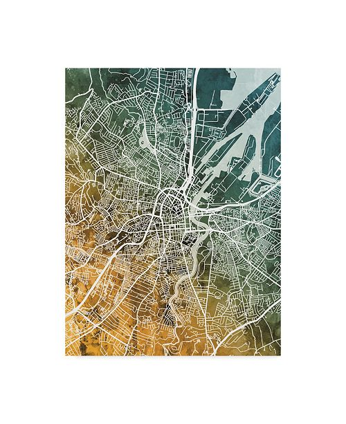 "Trademark Global Michael Tompsett Belfast Northern Ireland City Map Teal Orange Canvas Art - 20"" x 25"""