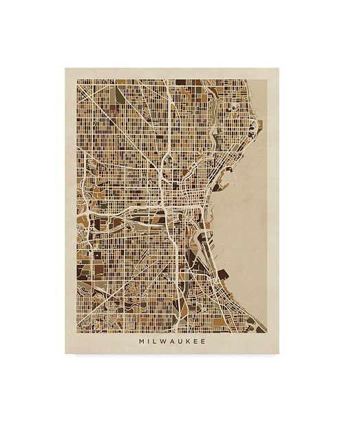 "Trademark Global Michael Tompsett Milwaukee Wisconsin City Map Brown Canvas Art - 20"" x 25"""