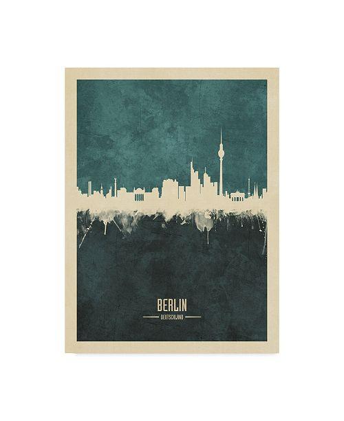 "Trademark Global Michael Tompsett Berlin Germany Skyline Teal Canvas Art - 37"" x 49"""