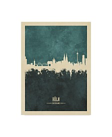 "Michael Tompsett Cologne Germany Skyline Teal Canvas Art - 37"" x 49"""