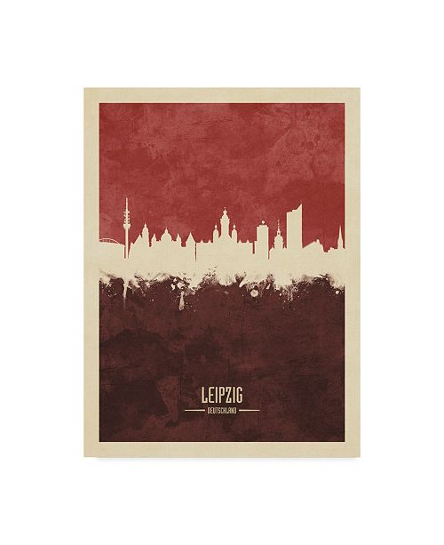 "Trademark Global Michael Tompsett Leipzig Germany Skyline Red II Canvas Art - 20"" x 25"""