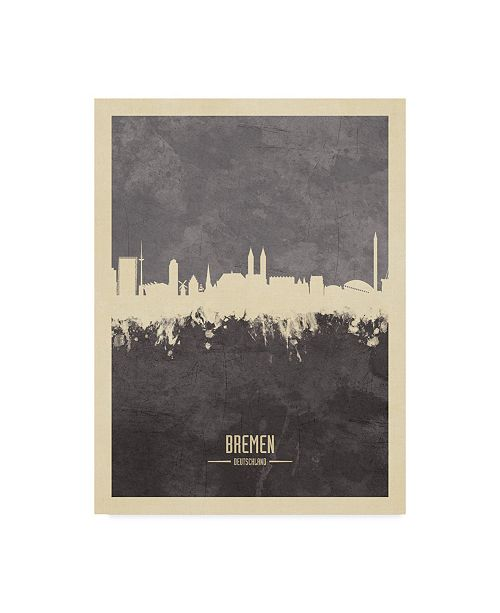 "Trademark Global Michael Tompsett Bremen Germany Skyline Gray Canvas Art - 37"" x 49"""