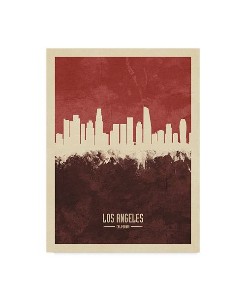 "Trademark Global Michael Tompsett Los Angeles California Skyline Red II Canvas Art - 20"" x 25"""