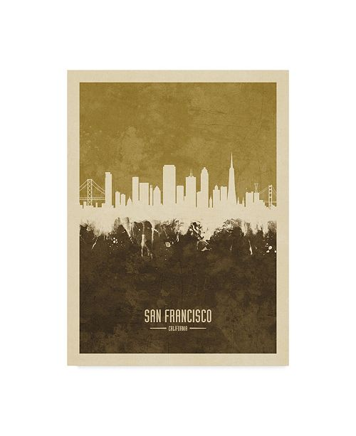 "Trademark Global Michael Tompsett San Francisco California Skyline Brown Canvas Art - 20"" x 25"""