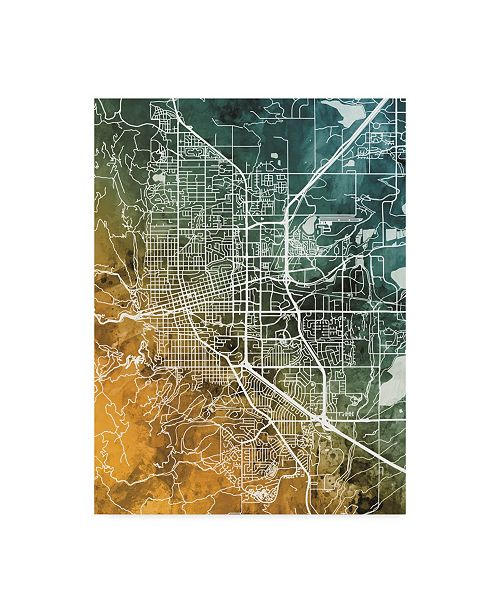 "Trademark Global Michael Tompsett Boulder Colorado City Map Teal Orange Canvas Art - 20"" x 25"""