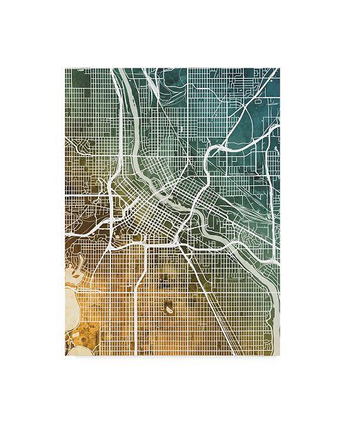 "Trademark Global Michael Tompsett Minneapolis Minnesota City Map Teal Orange Canvas Art - 37"" x 49"""