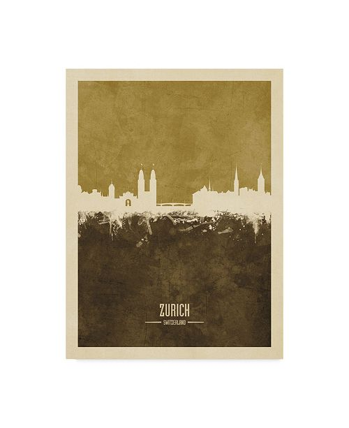 "Trademark Global Michael Tompsett Zurich Switzerland Skyline Brown Canvas Art - 37"" x 49"""