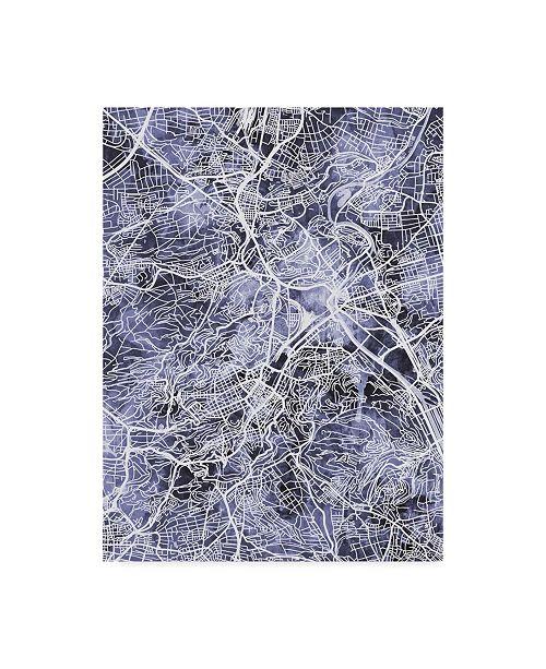 "Trademark Global Michael Tompsett Stuttgart Germany City Map Blue Canvas Art - 20"" x 25"""