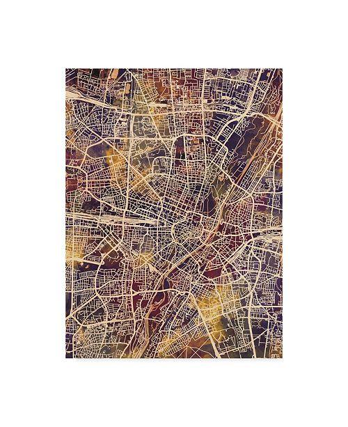 "Trademark Global Michael Tompsett Munich Germany City Map II Canvas Art - 20"" x 25"""