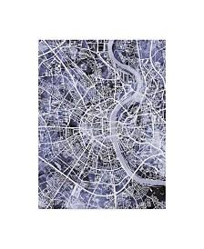 "Michael Tompsett Cologne Germany City Map Blue Canvas Art - 37"" x 49"""