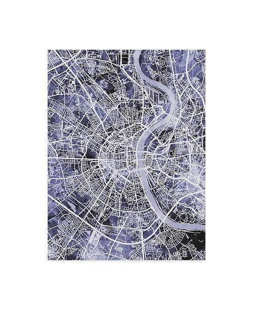 "Trademark Global Michael Tompsett Cologne Germany City Map Blue Canvas Art - 37"" x 49"""