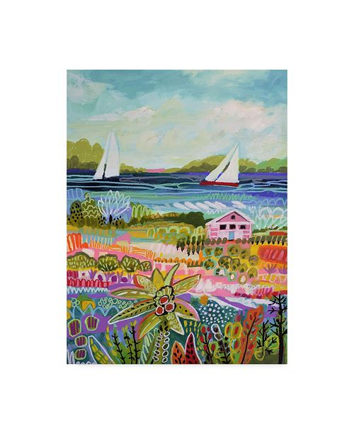 "Trademark Global Karen Fields Two Sailboats and Cottage I Canvas Art - 37"" x 49"""