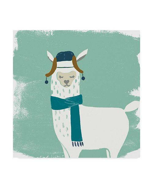 "Trademark Global June Erica Vess Bundle Up Llama III Canvas Art - 15"" x 20"""