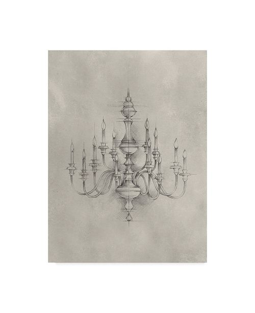 "Trademark Global Ethan Harper Chandelier Schematic I Canvas Art - 20"" x 25"""