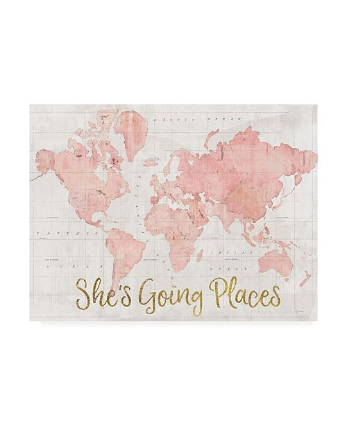 """Trademark Global Sue Schlabach Across the World She's Going Places Pink Canvas Art - 37"""" x 49"""""""