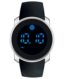 Movado Men's Digital Bold Black Silicone Strap Watch 45mm 3600146