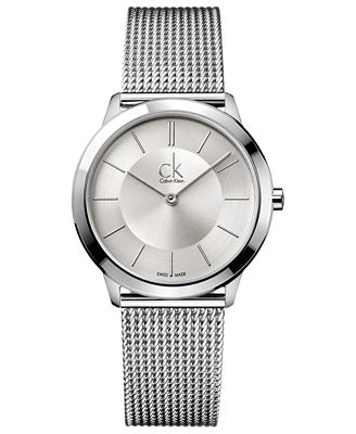 Calvin Klein Watch, Men's Swiss Minimal Stainless Steel Mesh Bracelet 35mm K3M22126