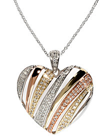 Trio by EFFY Diamond Diagonal Heart Pendant (3/8 ct. t.w.) in Tri-Tone 14k Gold