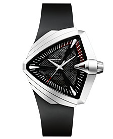 Hamilton Men's Swiss Automatic Ventura XXL Black Rubber Strap Watch 27mm H24655331