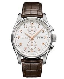 Watch, Men's Swiss Automatic Chronograph Jazzmaster Maestro Brown Leather Strap 45mm H32766513