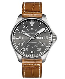 Watch, Men's Swiss Automatic Khaki Pilot Brown Leather Strap 46mm H64715885