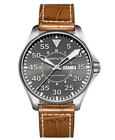 Hamilton Watch, Men's Swiss Automatic Khaki Pilot Brown Leather Strap 46mm H64715885