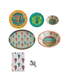 Cactus Melamine 25 Piece Set, Service for 4